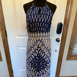 London Style Maxi halter geometric navy dress NEW